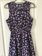 Ladies Navy Butterfly Summer Dress Size 14 Atmosphere