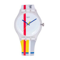 Swatch THE RED SHINY LINE SUOZ297 Men's Modern Abstract Line Design White Watch