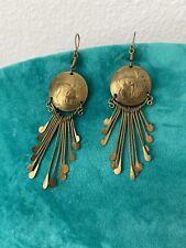 Estate Vintage Pierced Metal Gold Tone Dangling Pierced Earrings
