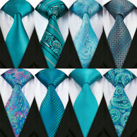 USA Peacock Blue Teal Ties Silk Mens Necktie Set Jacquard Woven Party Wedding