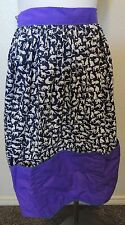 Handmade Black and White Kitty Cat Apron with Purple Trim and Pockets S M L