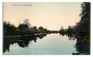 1908 Scene on Taunton River, MA Hand-Colored Postcard *6S21