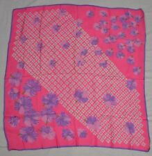 VINTAGE 1960s bright pink acetate scarf with purple and white floral pattern