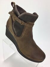 New Ugg Emalie Womens Wedge Booties Size 10 Waterproof Brown Leather Sheepskin