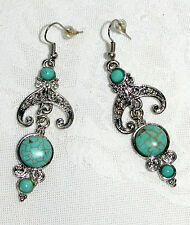 """Blue Turquoise Drop Dangle 2 3/4"""" Hinged Silver Earrings NEW"""