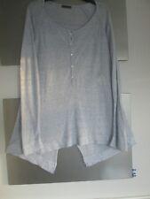 Oska pale blue linen top size 1 Regular part button front long sleeves