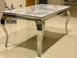Louis Solid Grey Marble Dining Table 1.2m 1.6m 1.8m Louis Chrome Legs