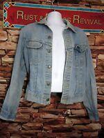 Vintage Lee Jean Jacket Denim Destroyed Distressed Stone Washed Worn Made In USA