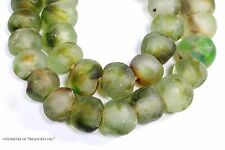 African Clear and Green Recycled Glass Beads from Ghana Africa 20 mm