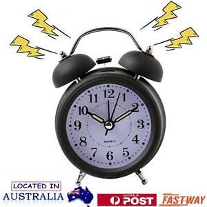 Twin Bell Bedside Analogue Alarm Clock Vintage Retro Desk Loud Clocks Black AU
