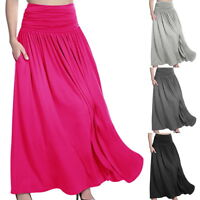 Womens High Waist Pleated A Line Soft Long Maxi Skirt Front Slit Belted Skirt CI