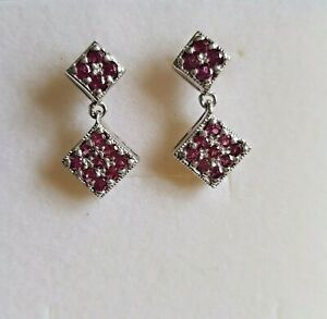 925 Sterling Silver Rhodolite Garnet earrings with post and butterfly fittings,