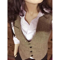 Womens Button Wool Blend Vest Tweed Slim Fit Formal Waistcoat British Style Coat