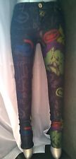 ECKO RED Jegging Gray Denim Pants Skinny Stretch Sz M Rhino Graffiti Leggings