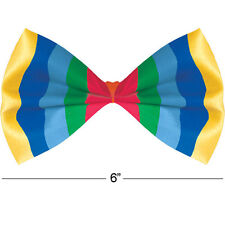 RAINBOW STRIPED BOW TIE Gay Pride Carnival Fancy Dress Costume Accessory 397290
