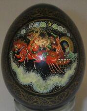 Collectible Decorative Egg Russian Troika Horses gold trim Black Lacquer