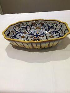 Vintage Italian Deruta Hand-painted Oval Serving Bowl