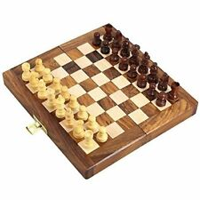 Wooden Chess Board Set Folding Magnetic Handmade  Small Chess Pieces 7 inches