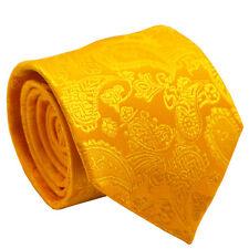 Gold Yellow Paisley Design Men Tie Wedding Office Party Prom Formal Men Necktie