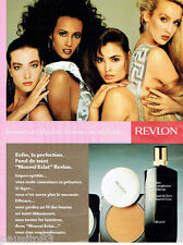 PUBLICITE ADVERTISING 115  1988  REVLON  maquillage avec CINDY CRAWFORD JERRY HA