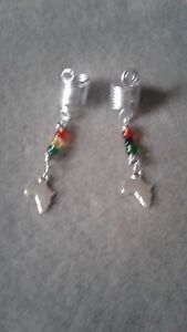 set of 2 Silver dreadlock jewelry, loc charm hair accessory with Africa pendant
