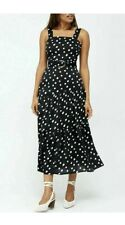 V BY VERY BLACK & WHITE POLKA DOT BELTED HOLIDAY OCCASION DRESS BNWT  UK 14