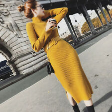 Fashion Women Split Side Sweater Dress Long Bodycon Knitted Dresses With Belt