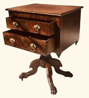 19TH C ANTIQUE CLASSICAL MAHOGANY 2 DRAWER WORK TABLE ~~ NIGHT STAND / END TABLE