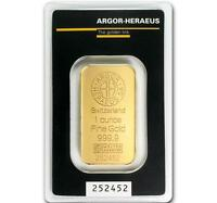 SPECIAL PRICE! 1 oz Gold Bar Argor Heraeus .9999 Gold in Sealed Assay Card #A314