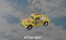 1967 Love Flower Power Peace Hippie Volkswagen Beetle Bug Christmas Ornament VW