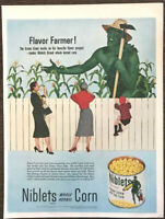 1953 Green Giant Niblets Fresh Corn on the Cob PRINT AD Flavor Farmer!
