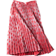 Metallic Lurex Heart Print Fine Pleated Plisse Full Midi Long Skirt Shimmering