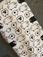 """Reduced 2.5 Mtrs SHEEP DESIGN FABRIC 100% COTTON BLACK & WHITE 60"""" Wide"""