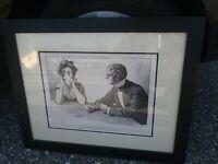 FRAMED Charles Dana Gibson Antique 1909 Life Pub Fortune Telling Print