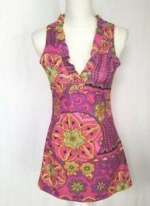 Vintage Mod Gogo Purple Pink Shift Dress Small Medium