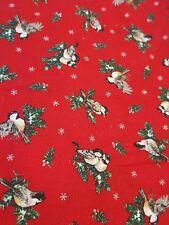 "Vintage Cranston Birds Evergreen Christmas Fabric 26"" x 26"""