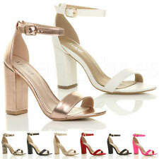 WOMENS LADIES BLOCK HIGH HEEL ANKLE STRAP PEEP TOE STRAPPY SANDALS SHOES SIZE
