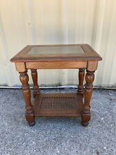 Vintage Hammary Wood/Glass/Cane End Table