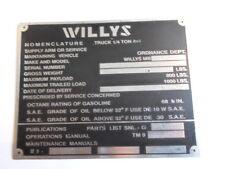 TARGHETTA Willys Jeep MB SCUDO ID-plate WW 2 II ALLUMINIO s23