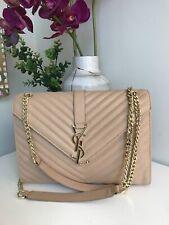 &&YSL Yves Saint Laurent Tan Monogram Large Grained Chain Bag