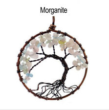 Morganite girl Pendant  Tree Of Life Necklace Copper Natural men Women