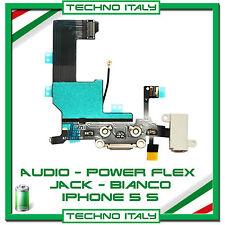 PER IPHONE 5S FLAT FLEX DOCK RICARICA LIGHTNING USB MICROFONO JACK AUDIO -BIANCO
