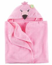 New Carter's Hooded Bath Towel Happy Flamingo Bird Face Terry Material NWT Pink