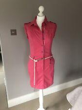 Boss Orange Summer Shirt Dress With Belt, Pink, UK 8