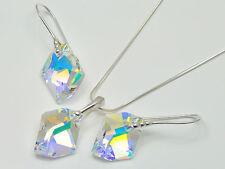 Schmuckset 925 Sterling Silber m. Swarovski Elements Ohrringe Halskette Anhänger