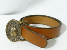 """vtg Tech Ether Guild Scarab Belt Buckle solid brass Leather wear 23"""" to 26"""""""