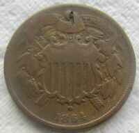 1864 Small Motto Two Cent Piece Fine Detail Minor Obverse Damage See Photos