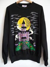 Vtg 80s 90s Halloween HAUNTED HOUSE Ghosts Spooky Retro Streetwear Sweatshirt L