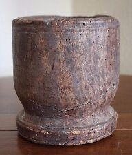 Antique Wood Primitive Mortar Carved Bowl DIstressed Wormy Folk Treen Vtg Bowl