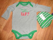 boys newborn 0 - 3m  ~ one piece bodysuit /cap set & elf  shirt ~ Christmas
